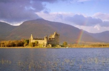 Loch Awe and the ruins of Kilchurn Castle Scotland